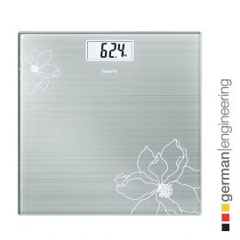 Beurer GS 10 glass bathroom scale with Easy-to-read LCD display, Automatic switch-off, overload indicator,180 kg capacity,Slim design only 19 mm and 5 Years Warranty (Grey)