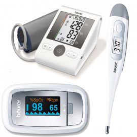 Beurer Medical Combo - Blood Pressure Monitor BM28 without Adapter + Thermometer FT09 + Pulse Oximeter PO30   5 Years Warranty
