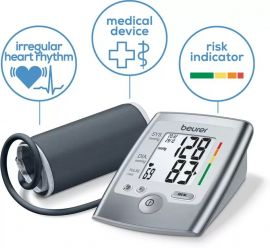 Beurer BM 35 fully automatic upper arm blood pressure monitor with Separate Cuff (22 to 36 cm) | LCD Display (BM35) With 5 Years Warranty | Digital bp monitor | Arrhythmia detection | Grey